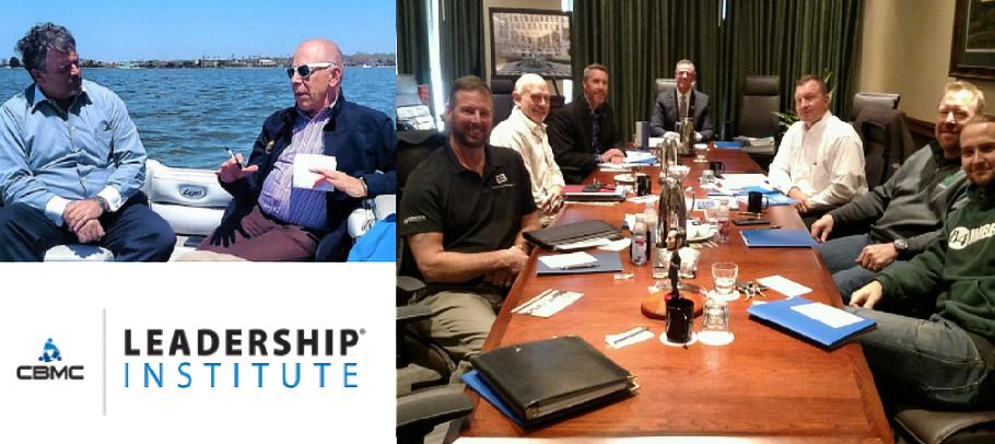 men around a table and on a boat discussing Leadership Institute