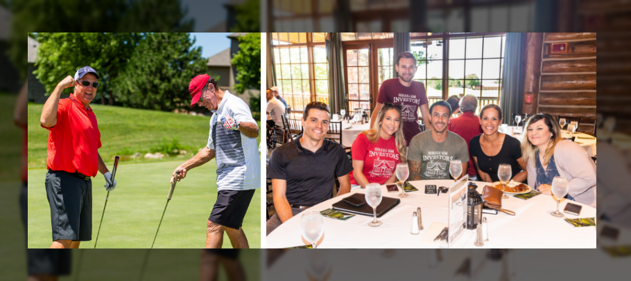 group photos from past golf event with two men on a green and 7 people at a table