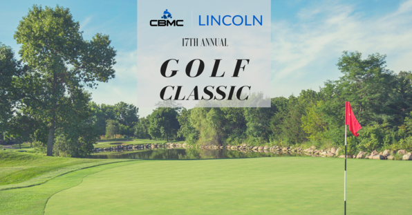 golf green with pond, red flag on hole, and label for lincoln golf classic