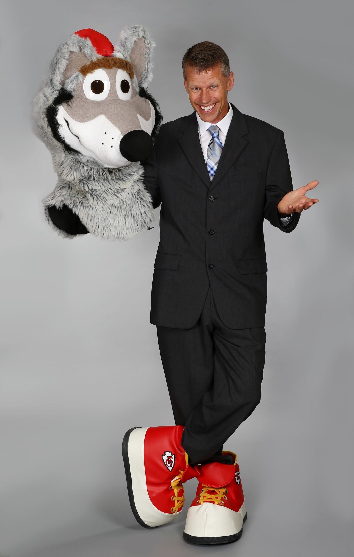 "Dan Meers, the ""KC Wolf"" -- mascot of the Kansas City Chiefs"
